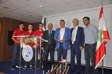 RHU honoring ceremony for Team Lebanon, winner in First Global Robotics Challenge
