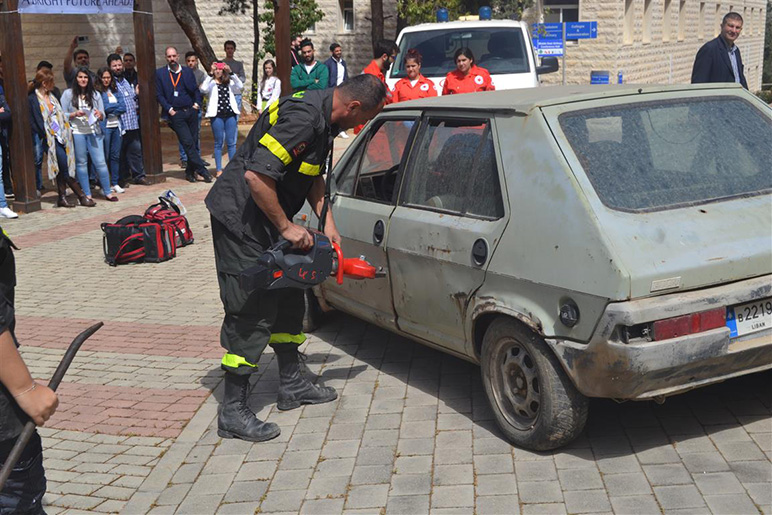 Students watch mock car accident at RHU