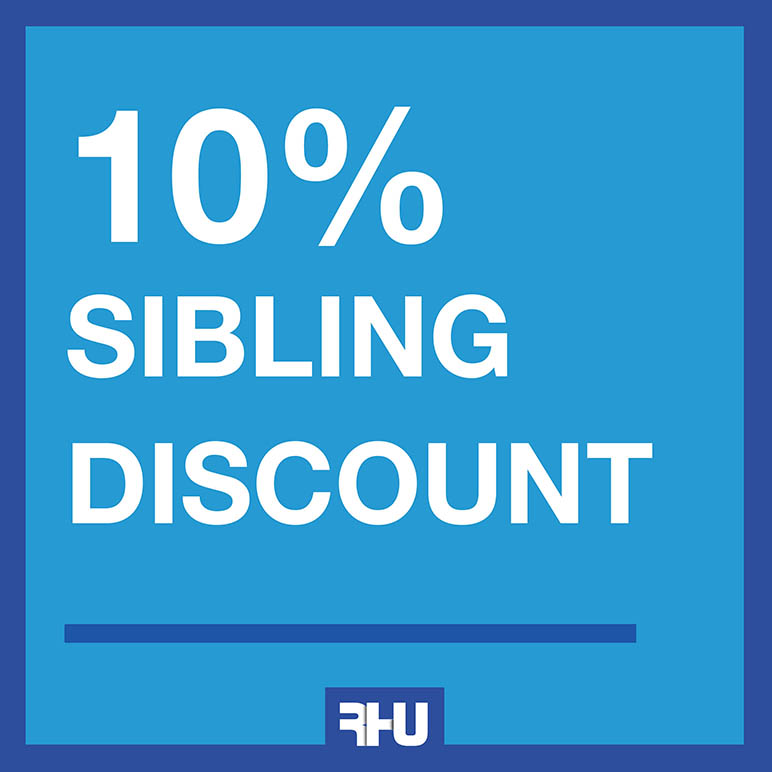 RHU introduces a 10% sibling discount starting Fall 2018