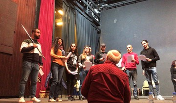 RHU students attend a workshop on acting techniques