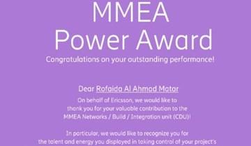 RHU CCE alumna receives Ericsson MMEA Power Award