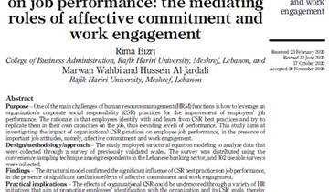 RHU business faculty publish research on the impact of CSR practices on employees' job performance
