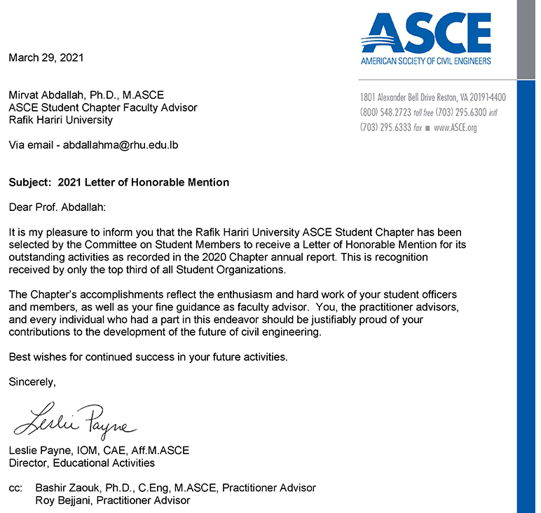 The ASCE RHU Student Chapter receives the 2021 Letters of Honorable Mention and Recognition for Community Service