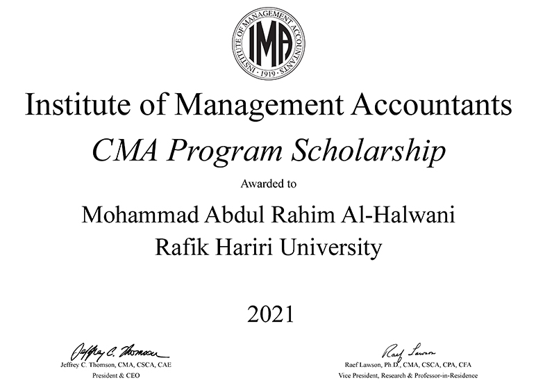 Proudly ten CBA students receive IMA scholarships to prepare and earn their CMA certification