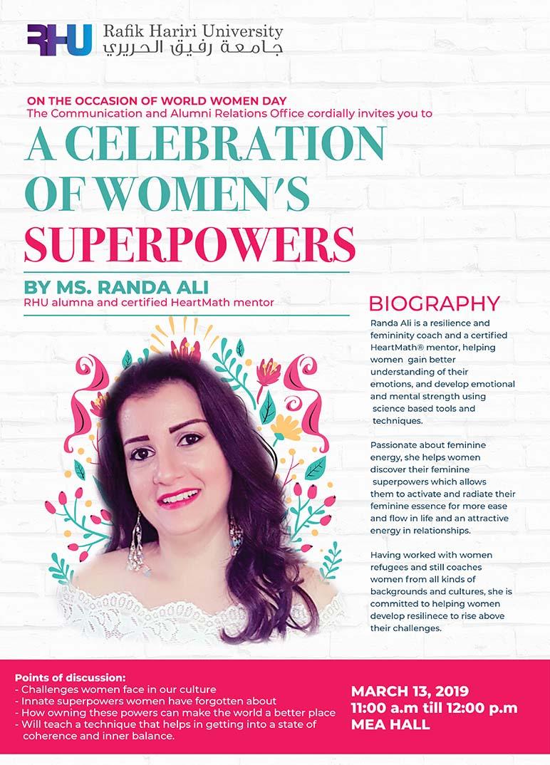 A celebration of Women's Super Powers at RHU -Rafik Hariri